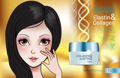Vector Illustration with Manga style girl and collagen cream Royalty Free Stock Image
