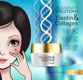 Vector Illustration with Manga style girl and collagen cream Royalty Free Stock Photos