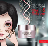 Vector Illustration with Manga style girl and collagen cream Royalty Free Stock Images
