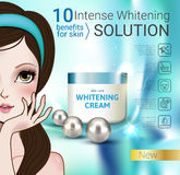 Vector Illustration with Manga style girl and cream container. Stock Photos
