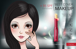 Vector Illustration with Manga style girl and foundation Concealer. Concealer stick ads. Vector Illustration with Manga style girl and foundation Concealer Stock Images