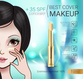 Vector Illustration with Manga style girl and foundation Concealer. Concealer stick ads. Vector Illustration with Manga style girl and foundation Concealer Stock Image