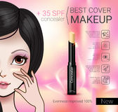 Vector Illustration with Manga style girl and foundation Concealer. Concealer stick ads. Vector Illustration with Manga style girl and foundation Concealer Royalty Free Stock Images