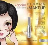 Vector Illustration with Manga style girl and foundation Concealer. Concealer stick ads. Vector Illustration with Manga style girl and foundation Concealer Royalty Free Stock Photos