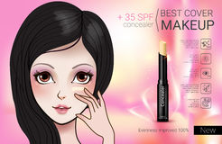 Vector Illustration with Manga style girl and foundation Concealer. Concealer stick ads. Vector Illustration with Manga style girl and foundation Concealer Royalty Free Stock Photo