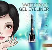 Vector Illustration with Manga style girl and gel eyeliner container. Royalty Free Stock Photos