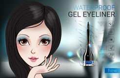 Vector Illustration with Manga style girl and gel eyeliner container. Stock Photos
