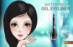 Vector Illustration with Manga style girl and gel eyeliner container. Stock Photography
