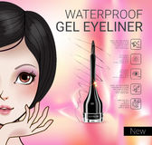 Vector Illustration with Manga style girl and gel eyeliner container. Royalty Free Stock Image