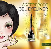 Vector Illustration with Manga style girl and gel eyeliner container. Royalty Free Stock Photography