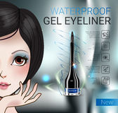 Vector Illustration with Manga style girl and gel eyeliner container. Royalty Free Stock Images