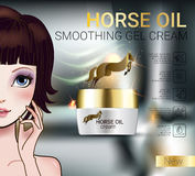 Vector Illustration with Manga style girl and horse oil Cream. Horse Oil Cream ads. Vector Illustration with Manga style girl and horse oil Cream container Stock Photos