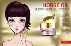 Vector Illustration with Manga style girl and horse oil Cream. Horse Oil Cream ads. Vector Illustration with Manga style girl and horse oil Cream container Royalty Free Stock Photography