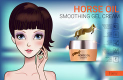 Vector Illustration with Manga style girl and horse oil Cream. Horse Oil Cream ads. Vector Illustration with Manga style girl and horse oil Cream container Royalty Free Stock Photo