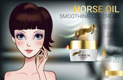 Vector Illustration with Manga style girl and horse oil Cream. Horse Oil Cream ads. Vector Illustration with Manga style girl and horse oil Cream container Royalty Free Stock Image