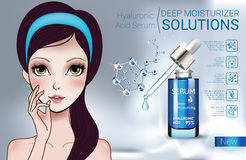 Vector Illustration with Manga style girl and Hyaluronic Acid Serum vector illustration