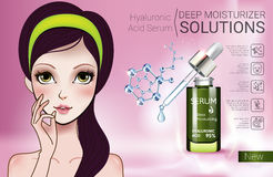 Vector Illustration with Manga style girl and Hyaluronic Acid Serum. Hyaluronic Acid Moisturizing Serum ads. Vector Illustration with Manga style girl and Stock Image