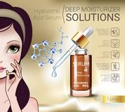Vector Illustration with Manga style girl and Hyaluronic Acid Serum. Hyaluronic Acid Moisturizing Serum ads. Vector Illustration with Manga style girl and Royalty Free Stock Photography