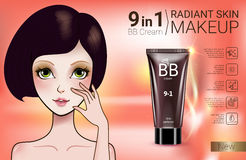 Vector Illustration with Manga style girl and makeup foundation tube. B.B. cream ads. Vector Illustration with Manga style girl and makeup foundation tube Stock Photography