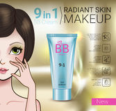 Vector Illustration with Manga style girl and makeup foundation tube. B.B. cream ads. Vector Illustration with Manga style girl and makeup foundation tube Royalty Free Stock Photos