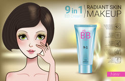 Vector Illustration with Manga style girl and makeup foundation tube. B.B. cream ads. Vector Illustration with Manga style girl and makeup foundation tube Stock Photos