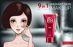 Vector Illustration with Manga style girl and makeup foundation tube. B.B. cream ads. Vector Illustration with Manga style girl and makeup foundation tube Royalty Free Stock Images