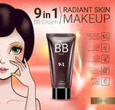 Vector Illustration with Manga style girl and makeup foundation tube. B.B. cream ads. Vector Illustration with Manga style girl and makeup foundation tube Royalty Free Stock Photography