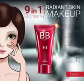 Vector Illustration with Manga style girl and makeup foundation tube. B.B. cream ads. Vector Illustration with Manga style girl and makeup foundation tube Stock Image
