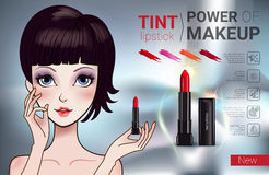 Vector Illustration with Manga style girl and makeup lipstick product. Tint lipstick ads. Vector Illustration with Manga style girl and makeup lipstick product Stock Photo