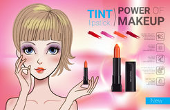 Vector Illustration with Manga style girl and makeup lipstick product. Tint lipstick ads. Vector Illustration with Manga style girl and makeup lipstick product Royalty Free Stock Photos