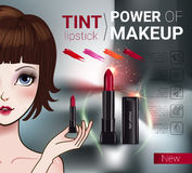 Vector Illustration with Manga style girl and makeup lipstick product. Tint lipstick ads. Vector Illustration with Manga style girl and makeup lipstick product Stock Photography