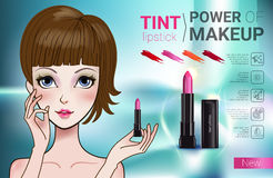 Vector Illustration with Manga style girl and makeup lipstick product. Tint lipstick ads. Vector Illustration with Manga style girl and makeup lipstick product Royalty Free Stock Images