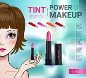 Vector Illustration with Manga style girl and makeup lipstick product. Tint lipstick ads. Vector Illustration with Manga style girl and makeup lipstick product Royalty Free Stock Photo