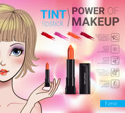 Vector Illustration with Manga style girl and makeup lipstick product. Tint lipstick ads. Vector Illustration with Manga style girl and makeup lipstick product Royalty Free Stock Image