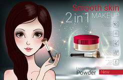 Vector Illustration with Manga style girl and makeup loose powder. Velvet Loose Powder ads. Vector Illustration with Manga style girl and makeup loose mineral Royalty Free Stock Photo