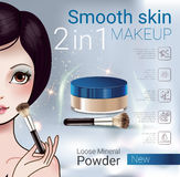Vector Illustration with Manga style girl and makeup loose powder. Velvet Loose Powder ads. Vector Illustration with Manga style girl and makeup loose mineral Stock Image