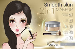 Vector Illustration with Manga style girl and makeup loose powder. Velvet Loose Powder ads. Vector Illustration with Manga style girl and makeup loose mineral Stock Images