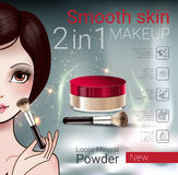 Vector Illustration with Manga style girl and makeup loose powder. Velvet Loose Powder ads. Vector Illustration with Manga style girl and makeup loose mineral Stock Photo
