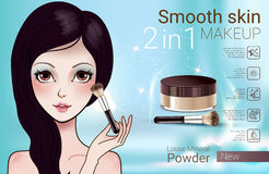 Vector Illustration with Manga style girl and makeup loose powder. Velvet Loose Powder ads. Vector Illustration with Manga style girl and makeup loose mineral Stock Photography