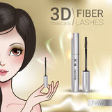 Vector Illustration with Manga style girl and mascara. 3d mascara ads. Vector Illustration with Manga style girl and mascara Royalty Free Stock Image