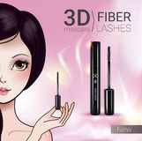 Vector Illustration with Manga style girl and mascara. 3d mascara ads. Vector Illustration with Manga style girl and mascara Royalty Free Stock Images