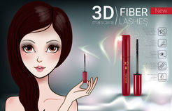 Vector Illustration with Manga style girl and mascara. 3d mascara ads. Vector Illustration with Manga style girl and mascara Stock Images