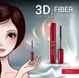 Vector Illustration with Manga style girl and mascara. 3d mascara ads. Vector Illustration with Manga style girl and mascara Stock Image
