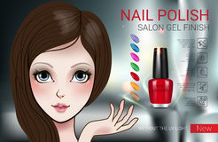 Vector Illustration with Manga style girl and nail polish. Nail polish ads. Vector Illustration with Manga style girl and nail polish in glass bottle Stock Images