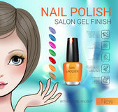 Vector Illustration with Manga style girl and nail polish. Nail polish ads. Vector Illustration with Manga style girl and nail polish in glass bottle Royalty Free Stock Images