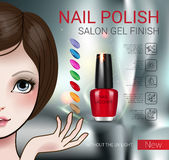 Vector Illustration with Manga style girl and nail polish. Nail polish ads. Vector Illustration with Manga style girl and nail polish in glass bottle Royalty Free Stock Photos