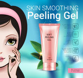 Vector Illustration with Manga style girl and peeling gel tube. Skin smoothing peeling gel ads. Vector Illustration with Manga style girl and peeling gel tube Royalty Free Stock Image