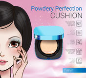 Vector Illustration with Manga style girl and powder cushion container. Royalty Free Stock Photography