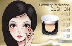 Vector Illustration with Manga style girl and powder cushion container. Stock Photo