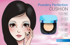 Vector Illustration with Manga style girl and powder cushion container. Royalty Free Stock Photo